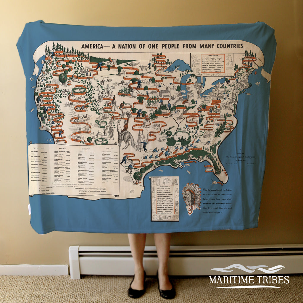 USA Immigration Map Blanket