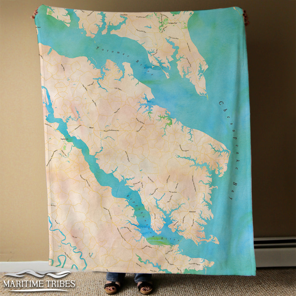Northern Neck Watercolor Map Blanket