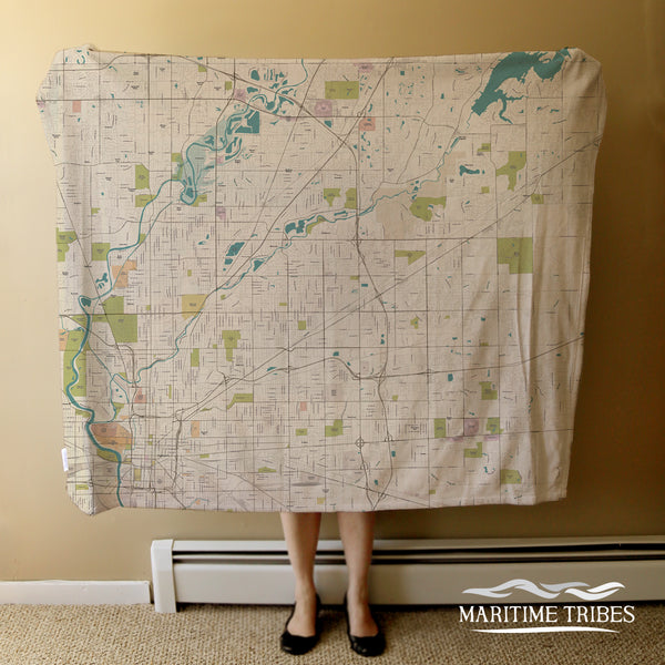 Indianapolis Sea Glass Map Blanket