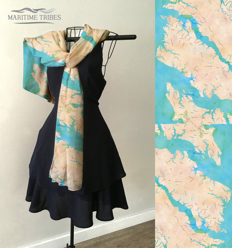 Chesapeake Bay Watercolor Map (Northern Neck) Scarf