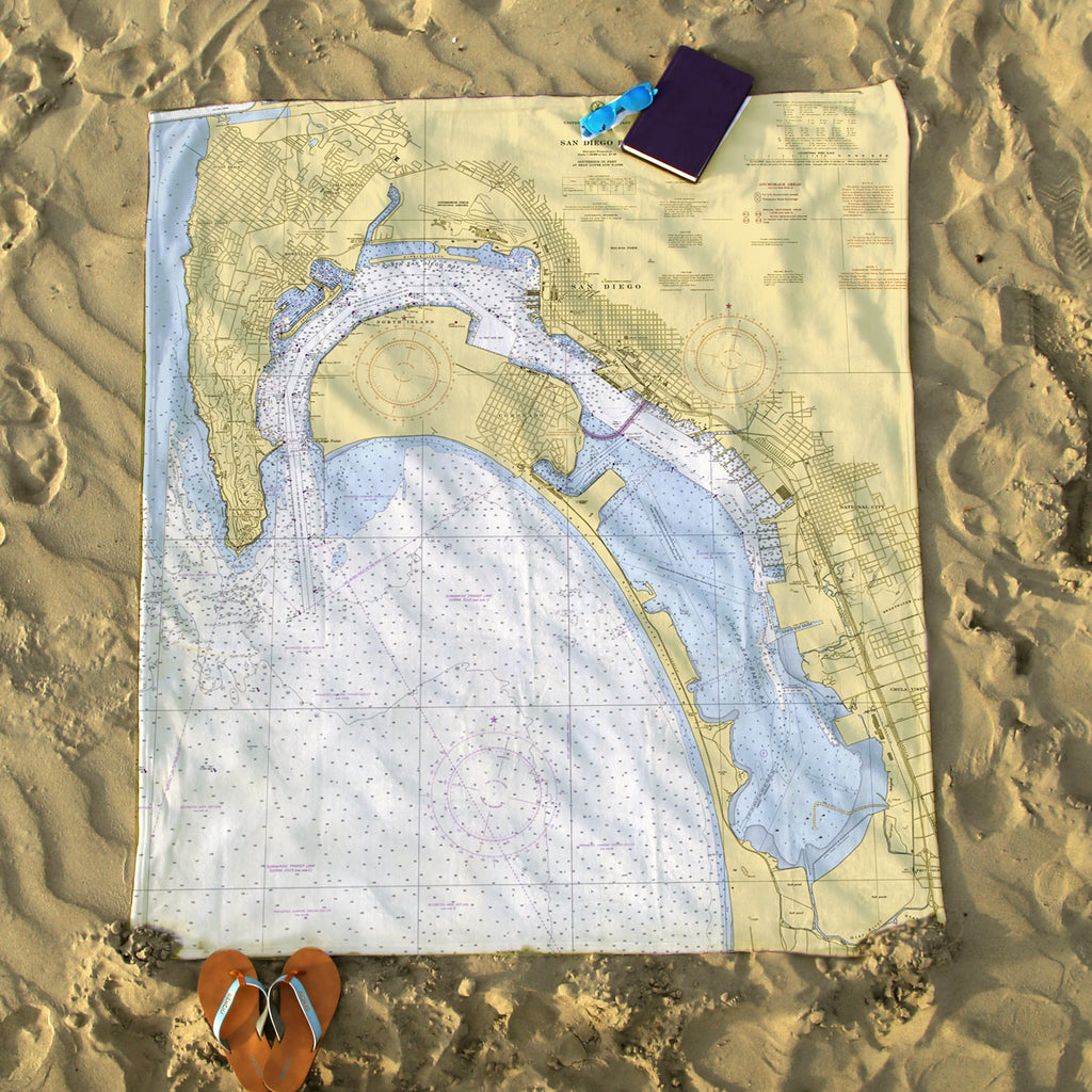 San Diego CA Vintage Nautical Chart Blanket