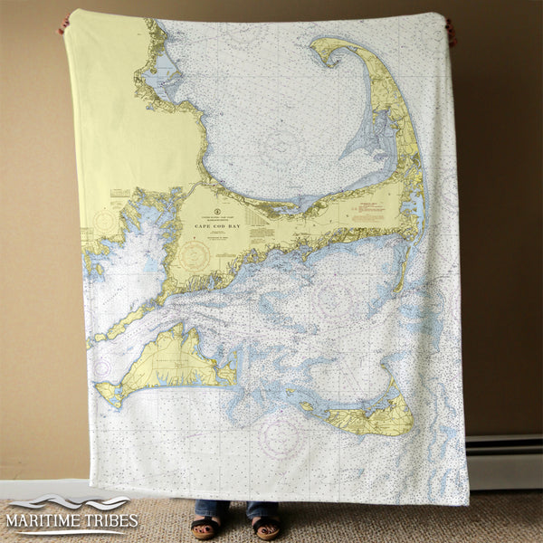 Cape Cod & the Islands Chart MUTED Blanket
