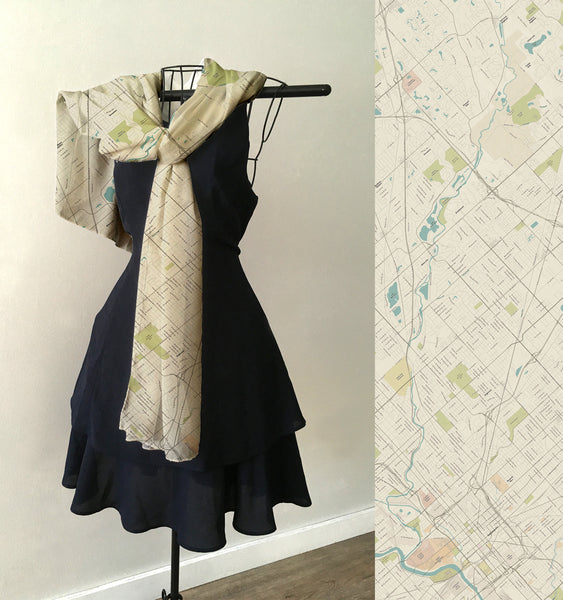 Indianapolis Sea Glass Map Scarf