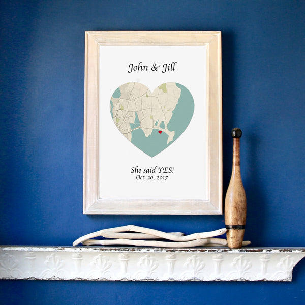 Personalized Heart Map, Framed