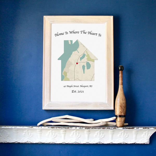 Personalized Home is Where The Heart Is Map, Framed