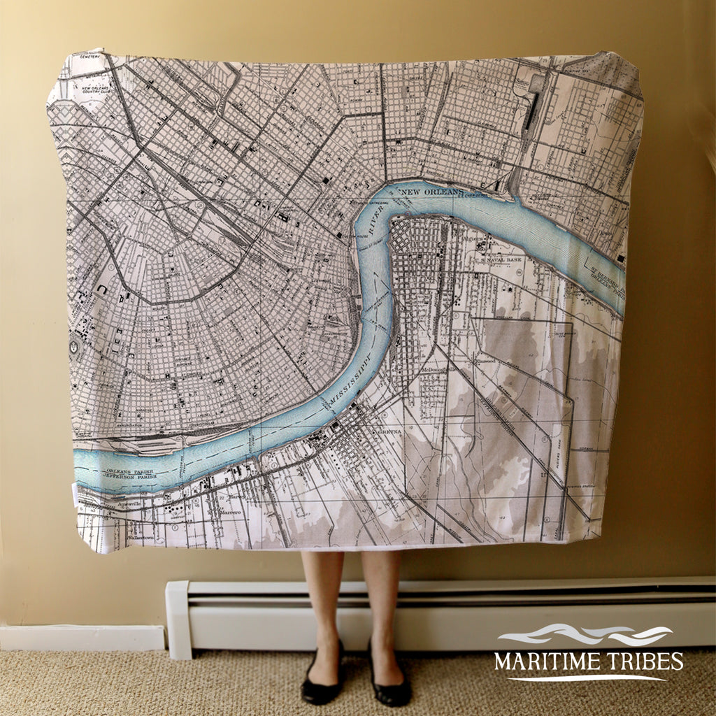 New Orleans River Antique Map, 2 Tone Blanket