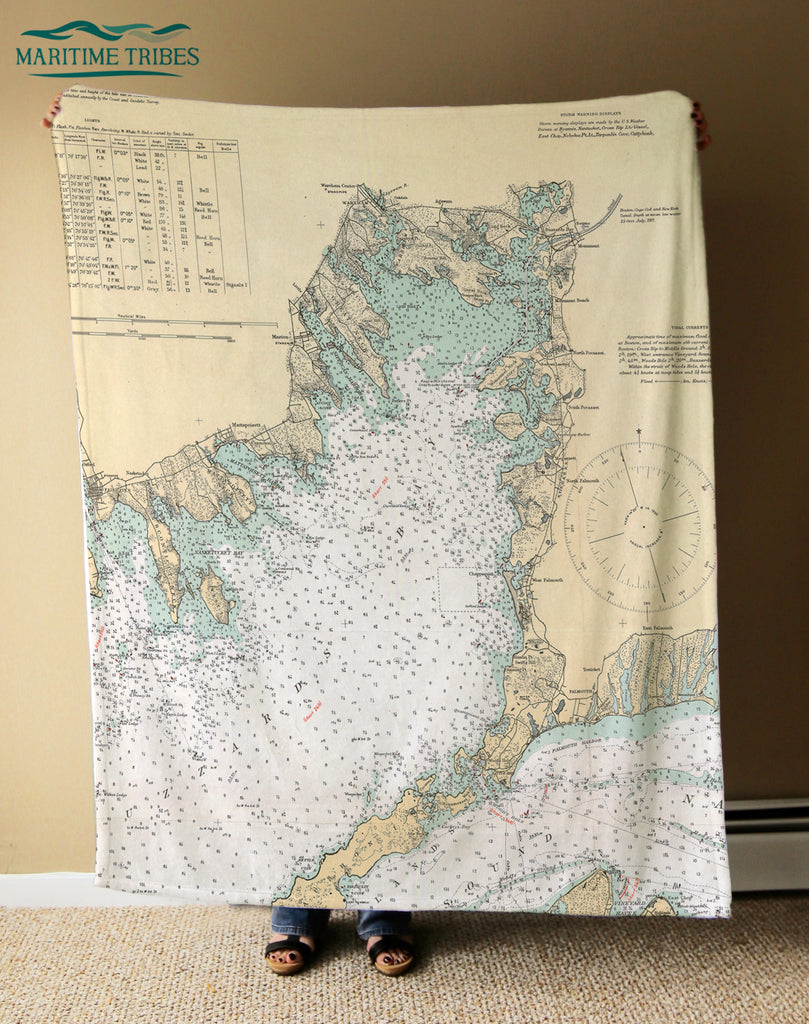 Woods Hole - Falmouth Vintage Nautical Chart Blanket