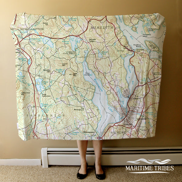 Lake Winnisquam Topo Map Blanket Blanket