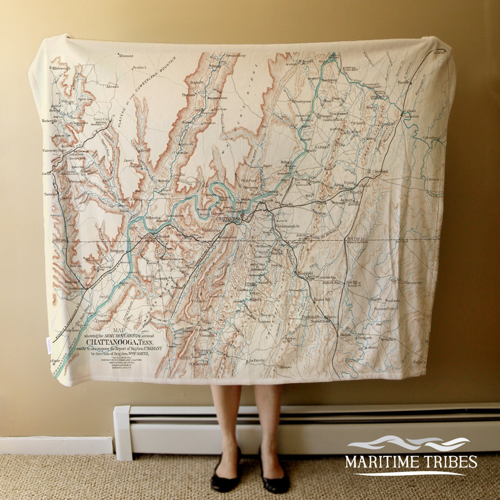 CHATTANOOGA Vintage Army Map, TN Blanket