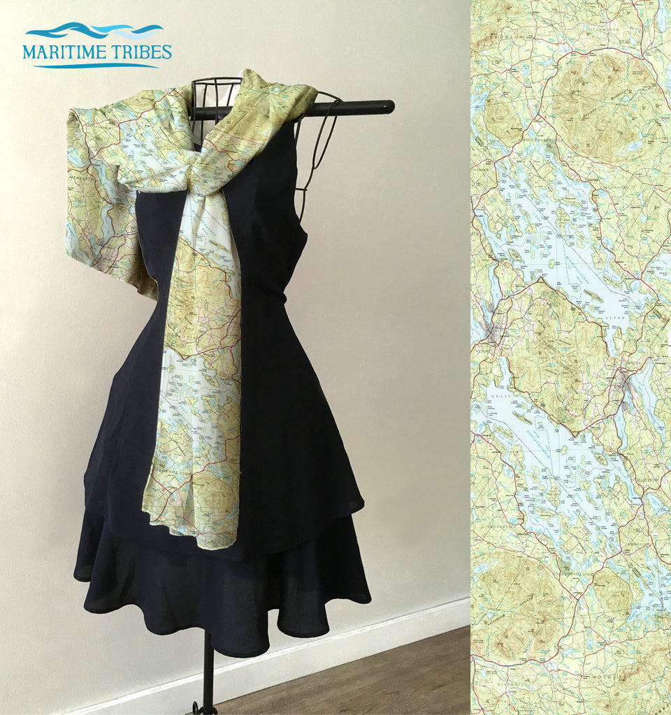 Lake Winnipesaukee Topo Map Scarf