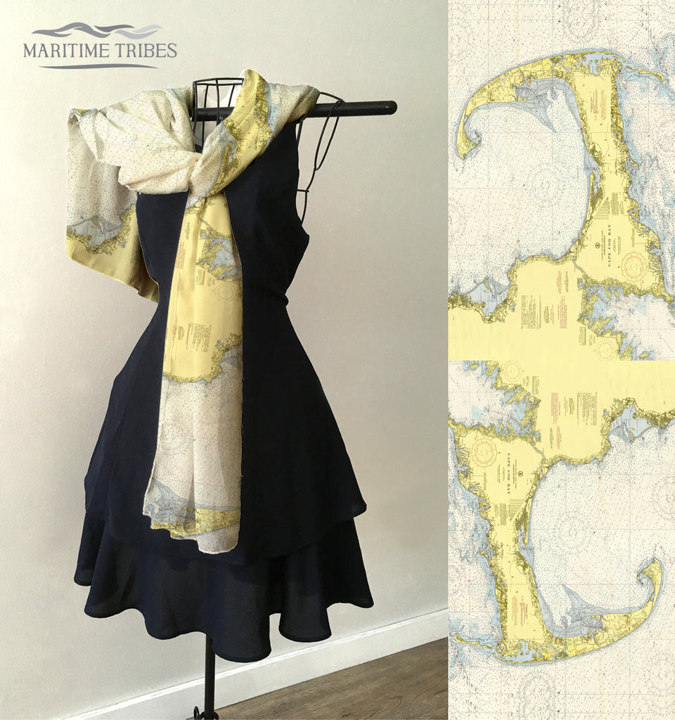 Cape Cod Arm, Nautical Chart  Scarf
