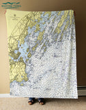 Casco Bay w/ Chebeague Island, ME Nautical Chart Blanket