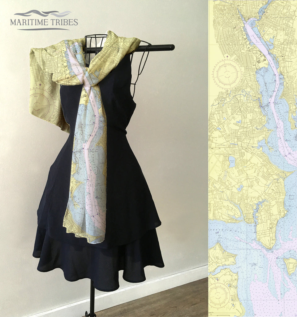 Providence River, RI Vintage Nautical Chart Scarf