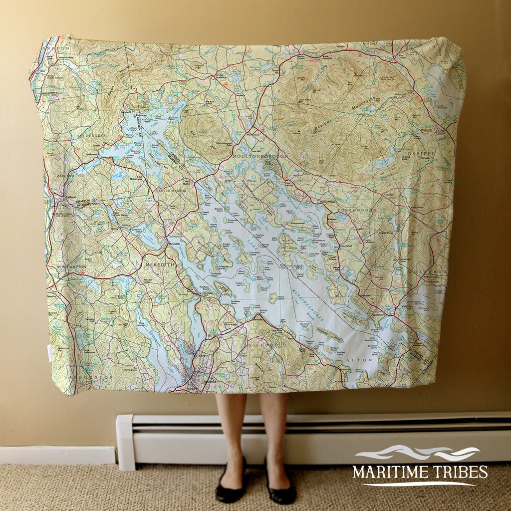 Lake Winnipesaukee Topographical Map Blanket