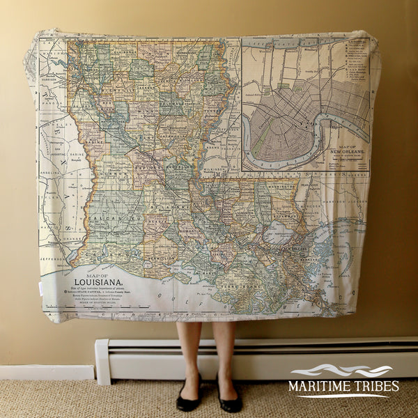 Louisiana Vintage Map Blanket