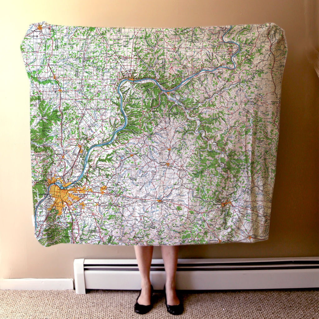 Louisville, KY Topographical Map Blanket