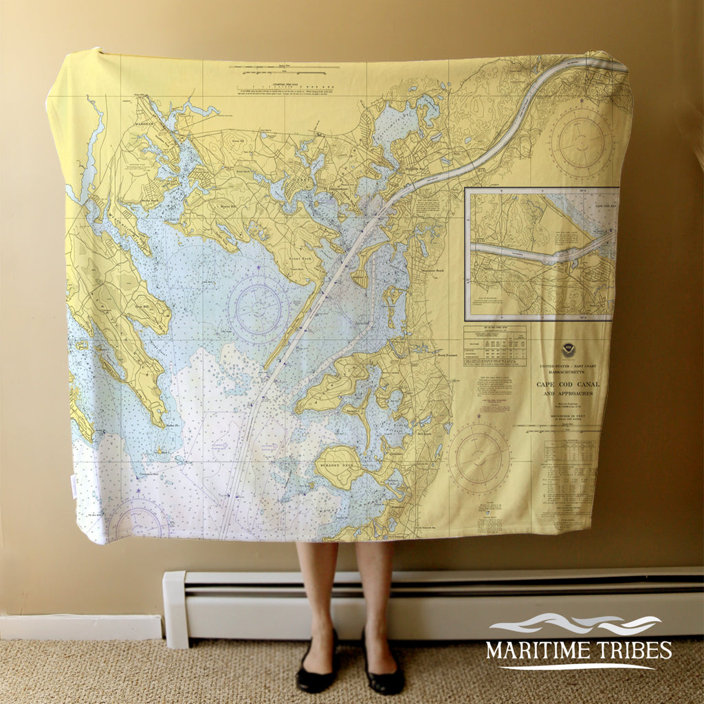 Wings Neck Vintage Nautical Chart (Canal) Blanket