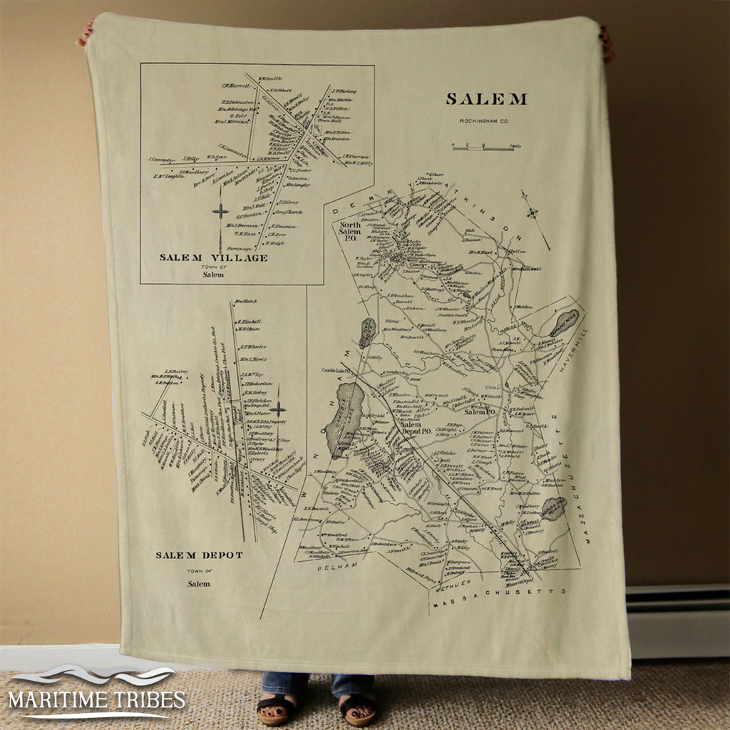 Salem, MA Vintage Map Blanket