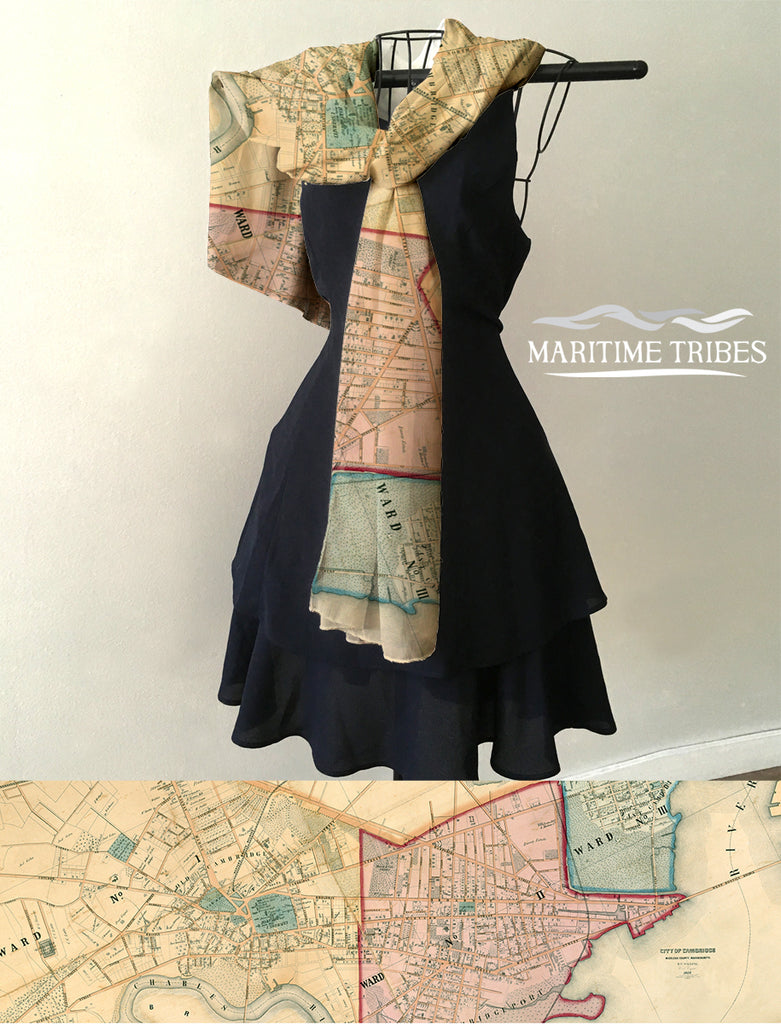 Antique Cambridge MA City Ward Map Scarf
