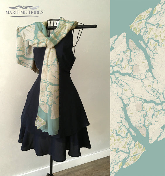 Beaufort, SC Sea Glass Map (Includes Hilton Head) Scarf
