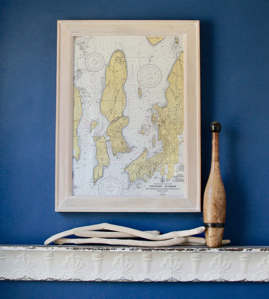 Newport Harbor Chart Framed Map