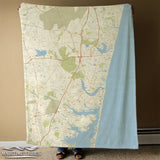 Mantoloking, NJ Vintage Map Blanket