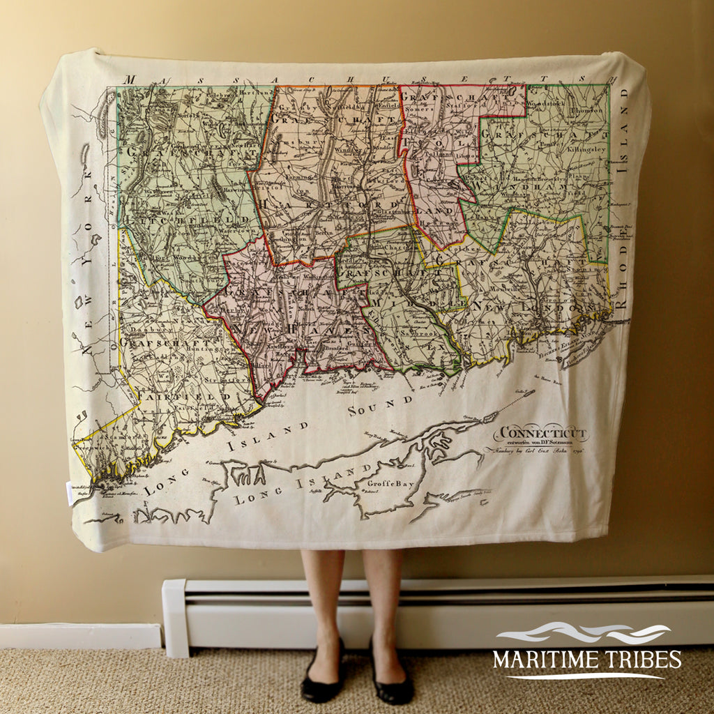 Connecticut Antique State Map Blanket