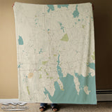 New Bedford, MA Sea Glass Style Map Blanket