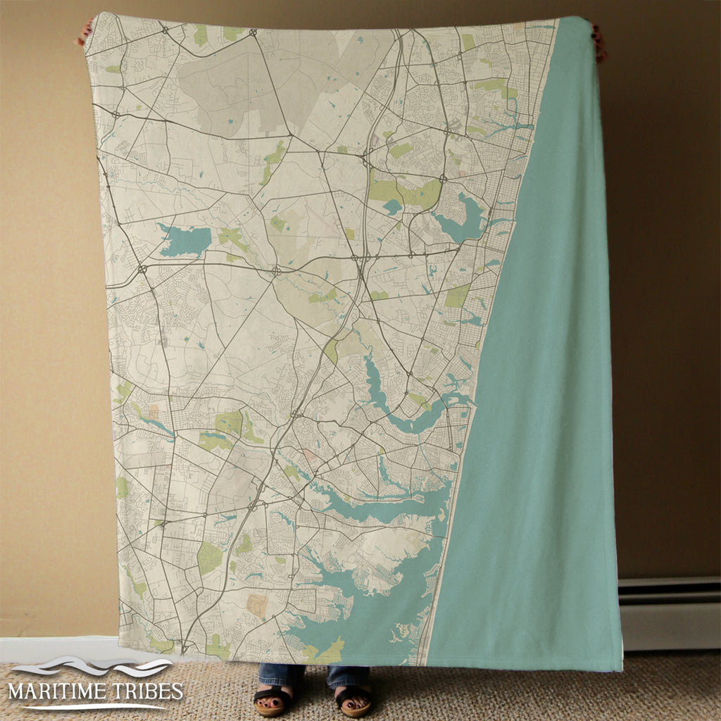Mantoloking, NJ Sea Glass NO LABELS Blanket