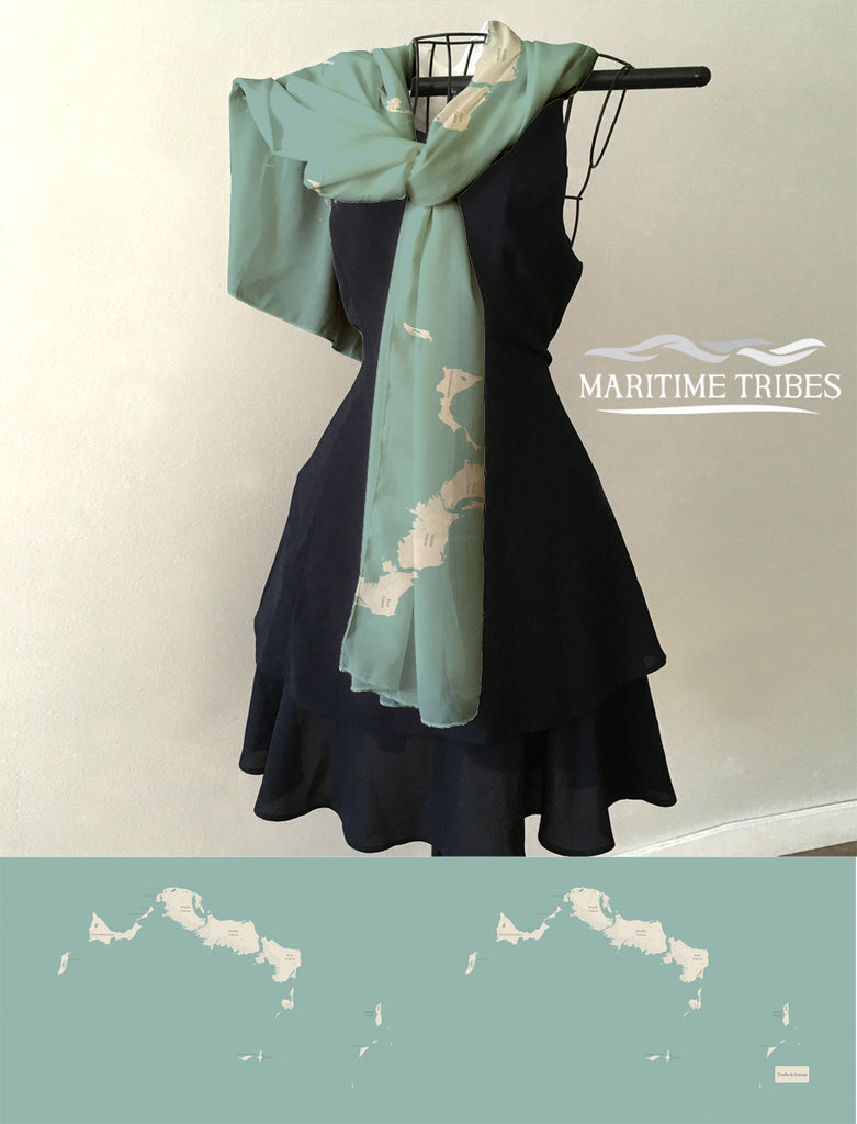 Turks & Caicos Islands  Map Scarf