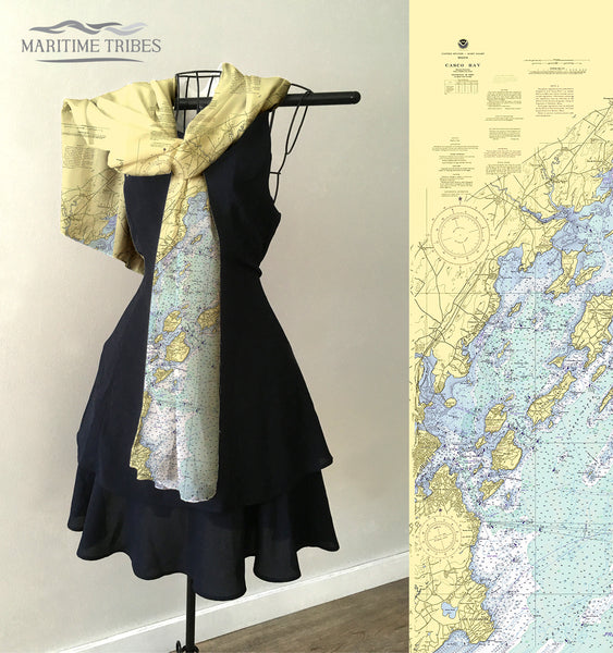 Portland, ME Nautical Chart Scarf
