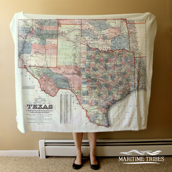 Texas State Vintage Map, Earthy Tones Blanket