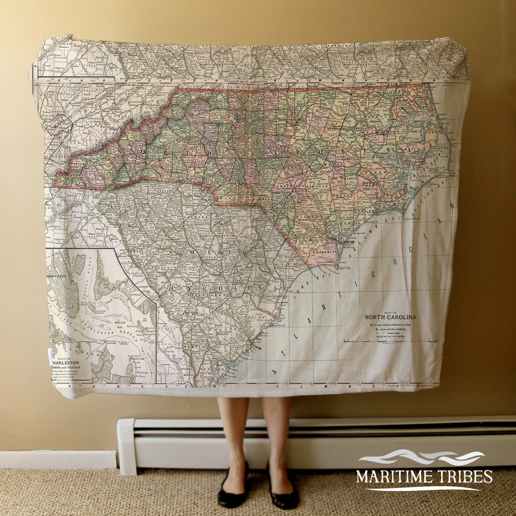 North Carolina Vintage State Map Blanket