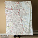 Boston MA, Modern Topo Map Blanket