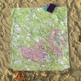 Chapel Hill, NC Modern Topo Map Blanket