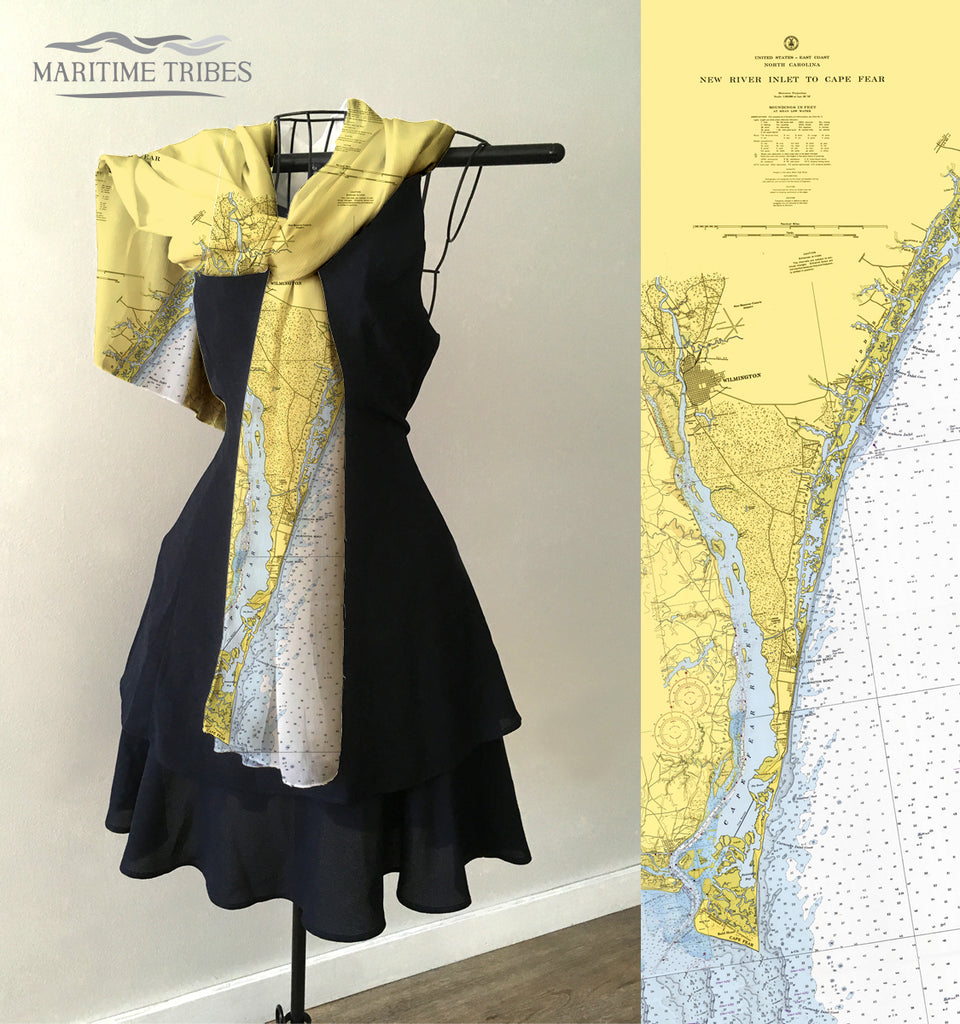 Bald Head Island to New River Inlet (Wilmington) Map Scarf