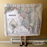 Vintage State of Maryland Map Blanket