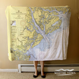 Beaufort, SC Nautical Chart Blanket Blanket