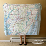 Salisbury MD, Roadmap, vintage topo map Blanket