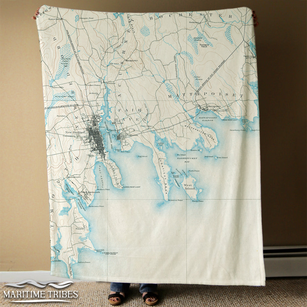 New Bedford MA Antique map Blanket