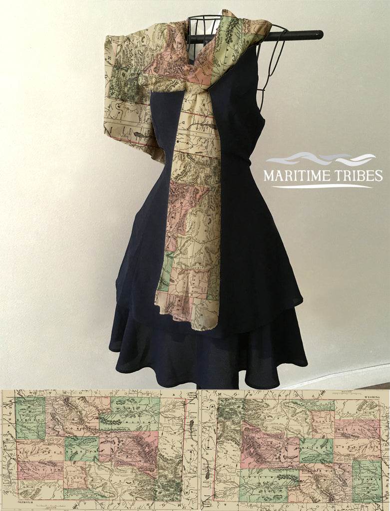 Wyoming Vintage State Map Scarf