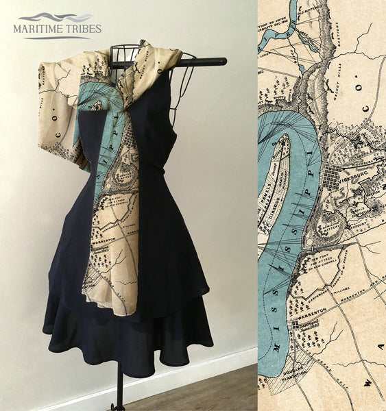 Vicksburg, MS Antique Map Scarf