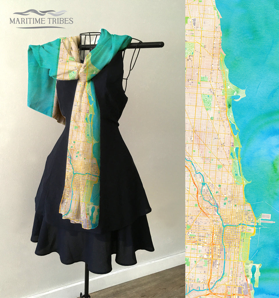 Chicago Watercolor Style Map Scarf