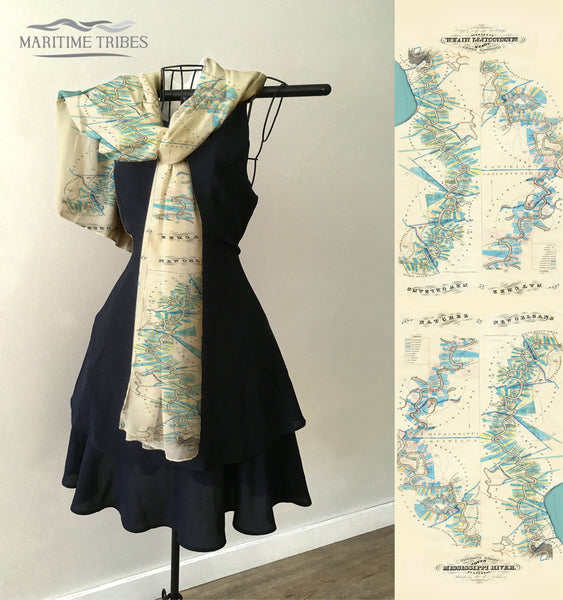 Mississippi River, New Orleans, LA to Natchez MS Antique Map Scarf