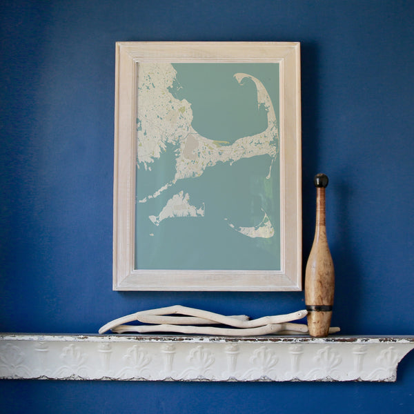 Cape Cod & The Islands Sea Glass Framed Map