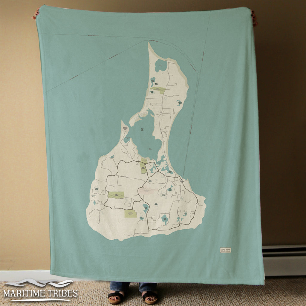 Block Island Sea Glass Map Blanket