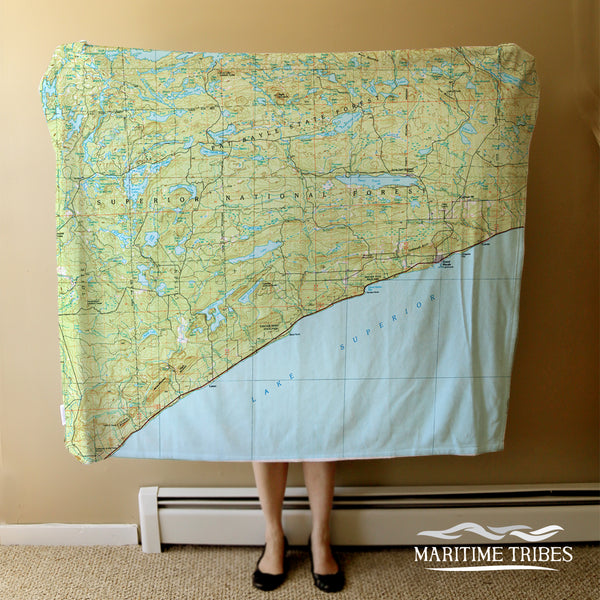 Grand Marais, MN Lake Superior Vintage Topo Map Blanket