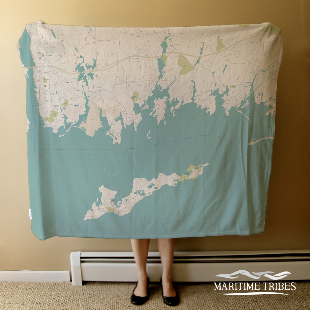 Fishers Island Sound Sea Glass Map Blanket