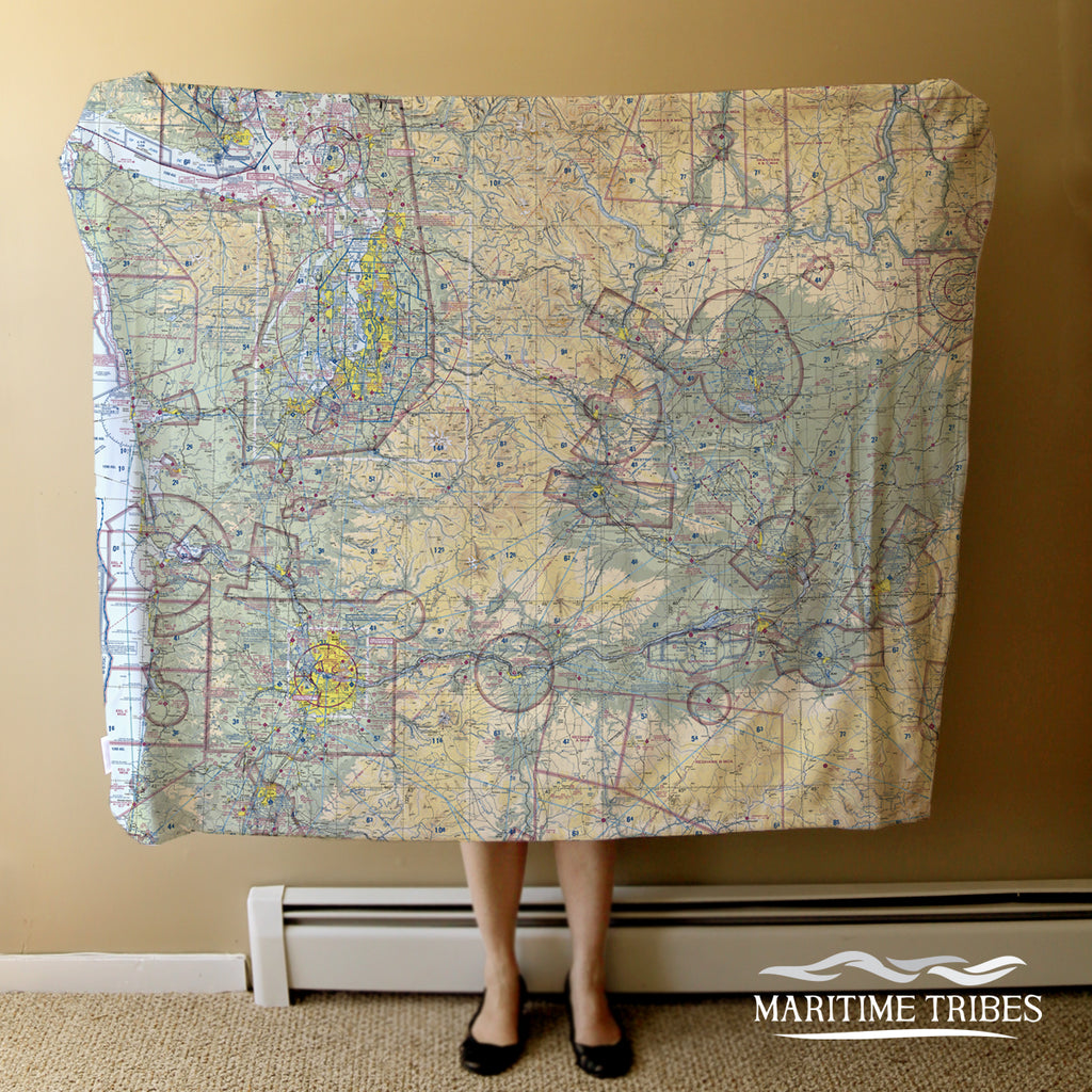 Aeronautical Map of Seattle WA Blanket