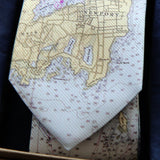 Antique New Orleans River Map Tie